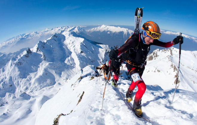 Es Tresidder on the final ascent of the Grand Mont, 2700m, in the 4-day Pierra Menta Ski Mountaineering race, Beaufortain, France. March 2010. Photo by John Norris.